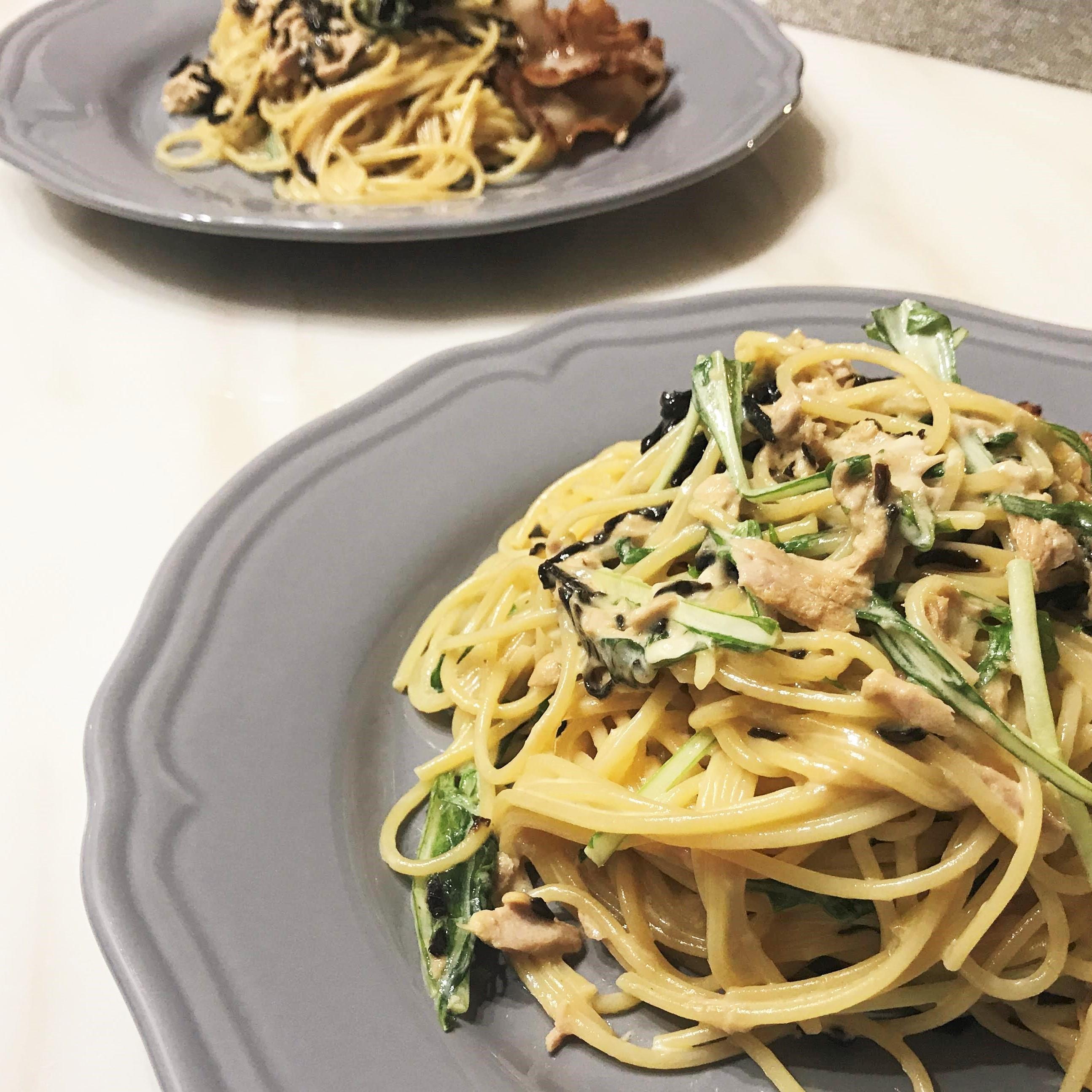 水菜と塩昆布の混ぜるだけパスタ