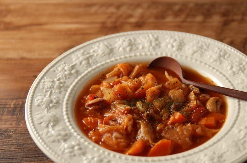 鯖缶ときのこのトマトスープ